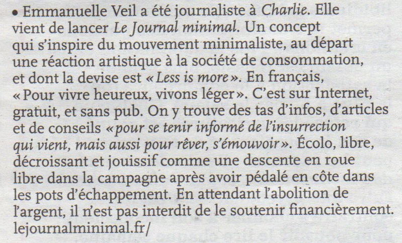 Le journal minimal dans Charlie Hebdo