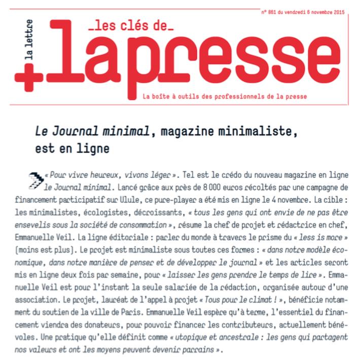 le journal minimal dans Les Clés de la Presse