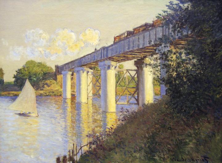 Le pont ferroviaire à Argenteuil, Claude Monet