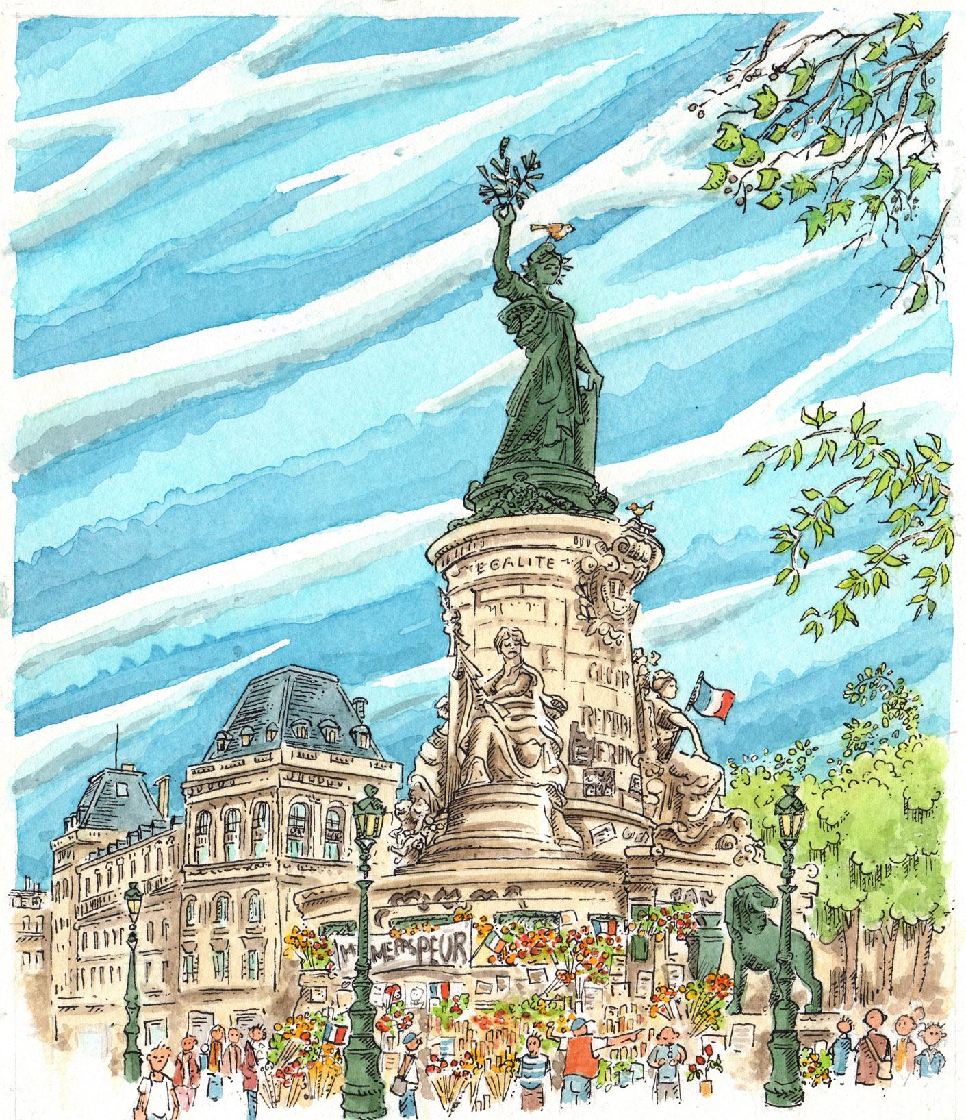 Le mausolée de la place de la république dessiné par Christophe Lassalle