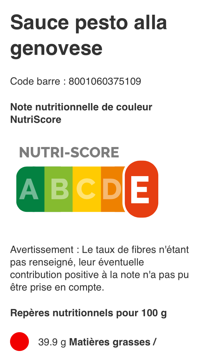 Capture d'écran d'OpenFoodFacts.