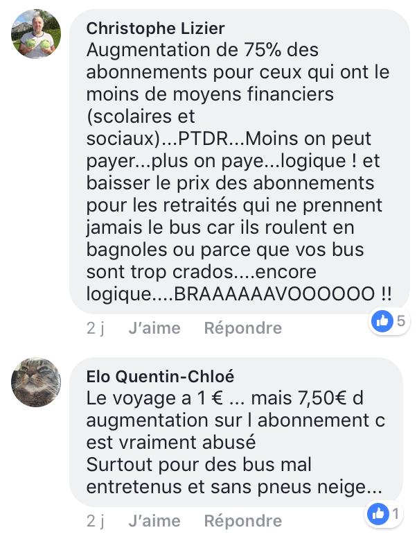 Messages sur la page Facebook de la CTPM d'usagers mécontents des tarifs des bus