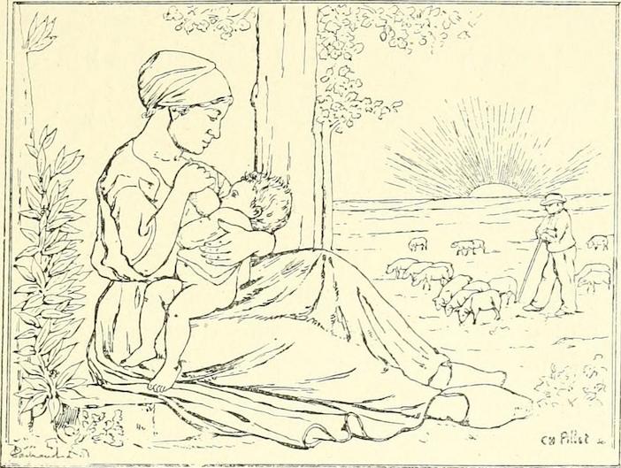 Une femme allaite son bébé