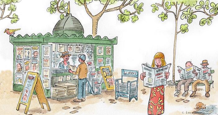 Kiosque à journaux, revue de presse le journal minimal, christophe lassalle