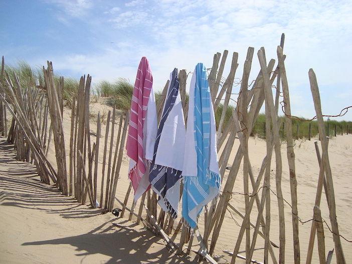 Serviettes de plage, dune, sable, fouta