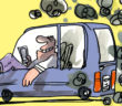 Pollution voiture à l'arret, dessin : Jiho