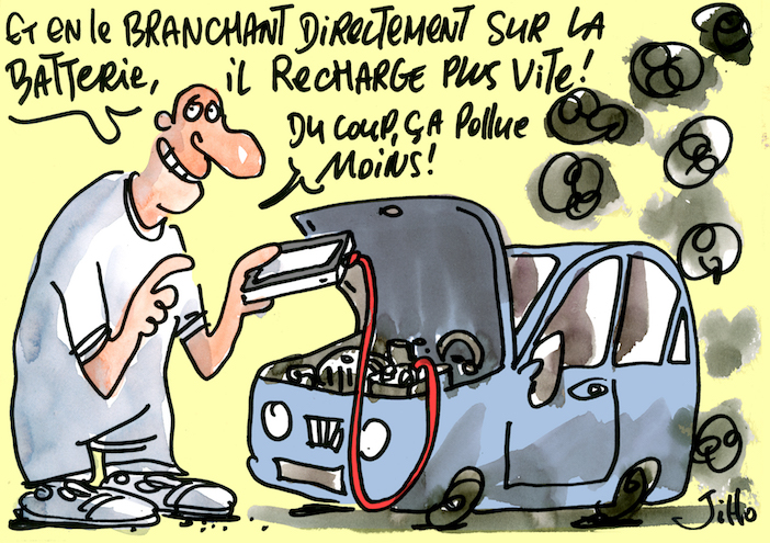 Pollution voiture à l'arret, dessin : Jiho