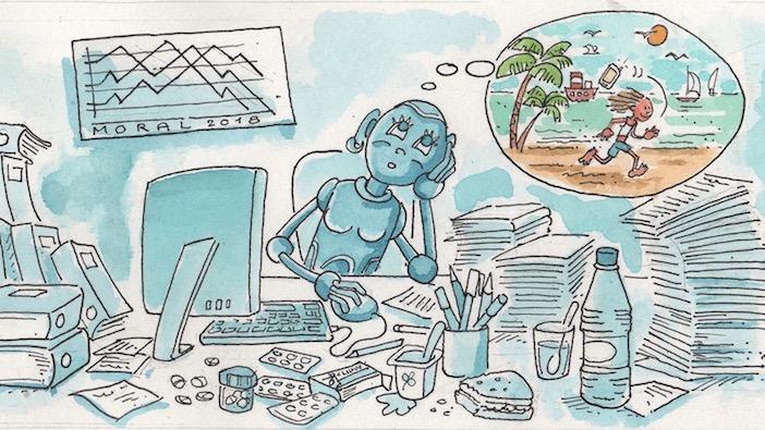 Un robot à son bureau rêve de vacances, dessin Christophe Lassalleces