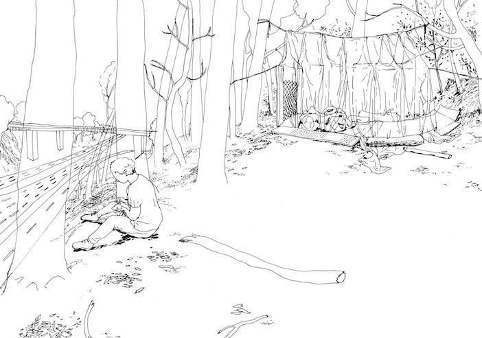Le campement de Chloé Schuiten et Clément Thiry, dessiné par eux.