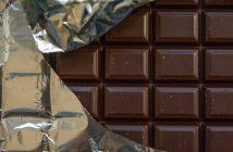 Chocolat, plaque, papier d'argent