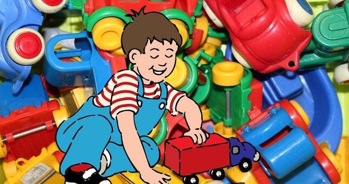 Enfant, jouets, camion