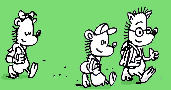 Les hérissons de Minima city vont à l'école avec leur cartable