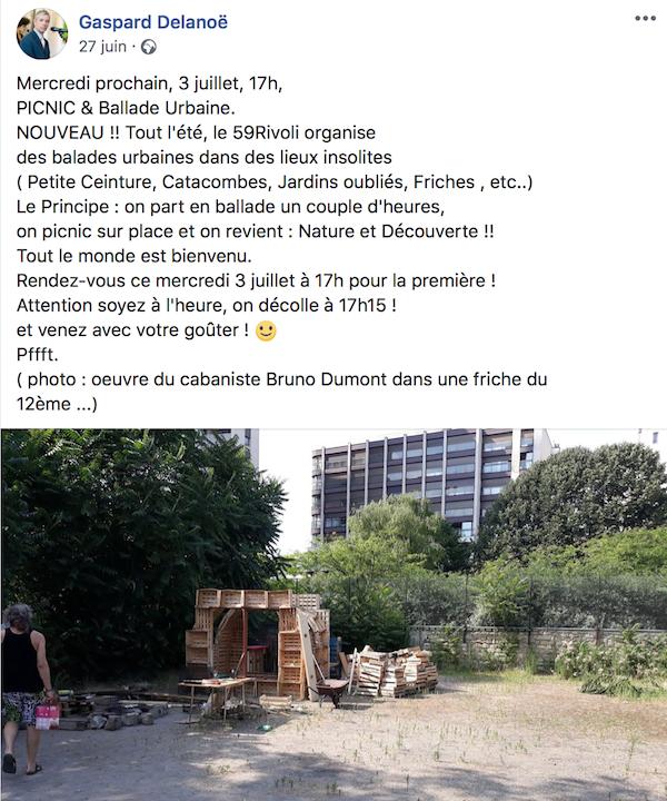 Le post Facebook publié par Gaspard donnant rendez-vous aux squatteurs, Jardin denfert