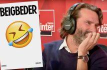Frédéric Beigbeder à France Inter et la couverure de son roman L'Homme qui pleure de rire
