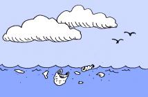 La machine Ocean cleaner : les piquants du hérisson récuperent les sacs plastique