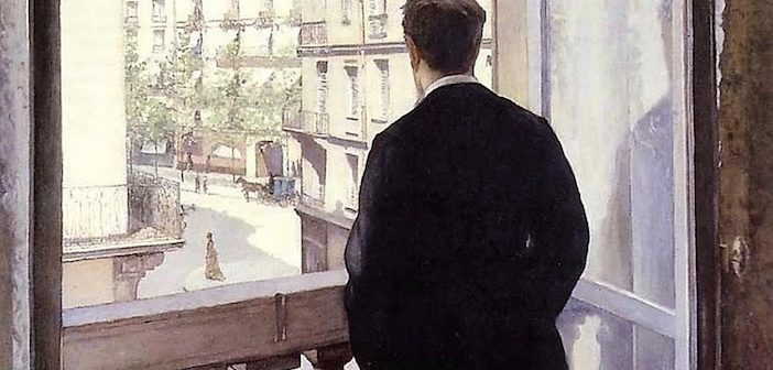 Jeune homme à la fenêtre, balcon